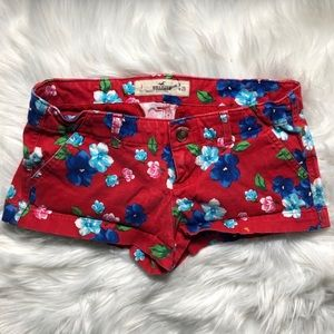 Red Hollister Floral Shorts